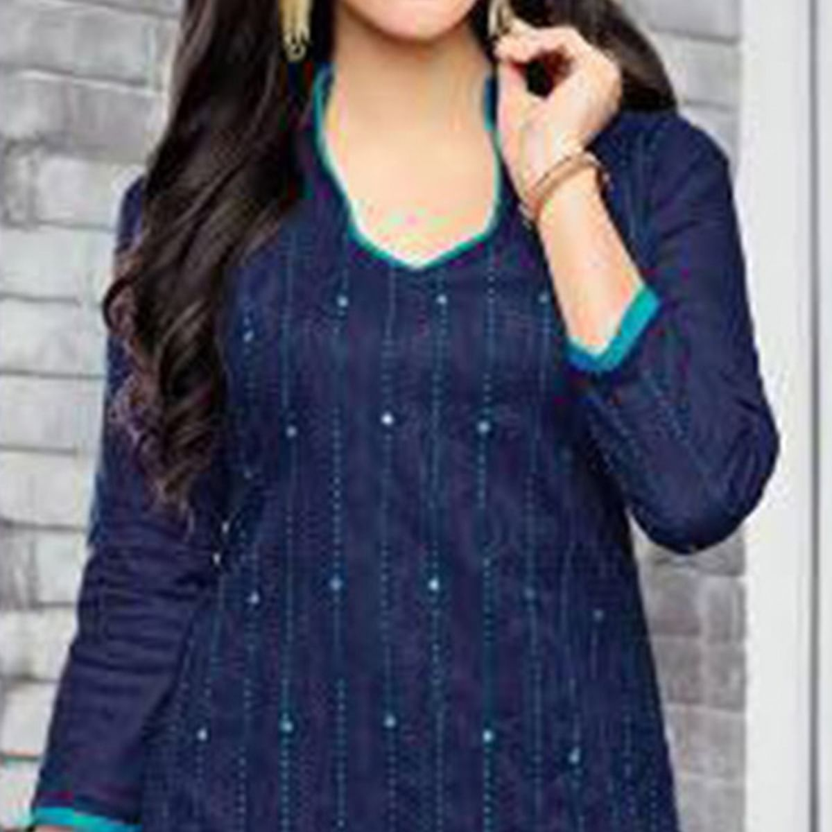 Gorgeous Blue Embroidered Cotton Jacquard Dress Material