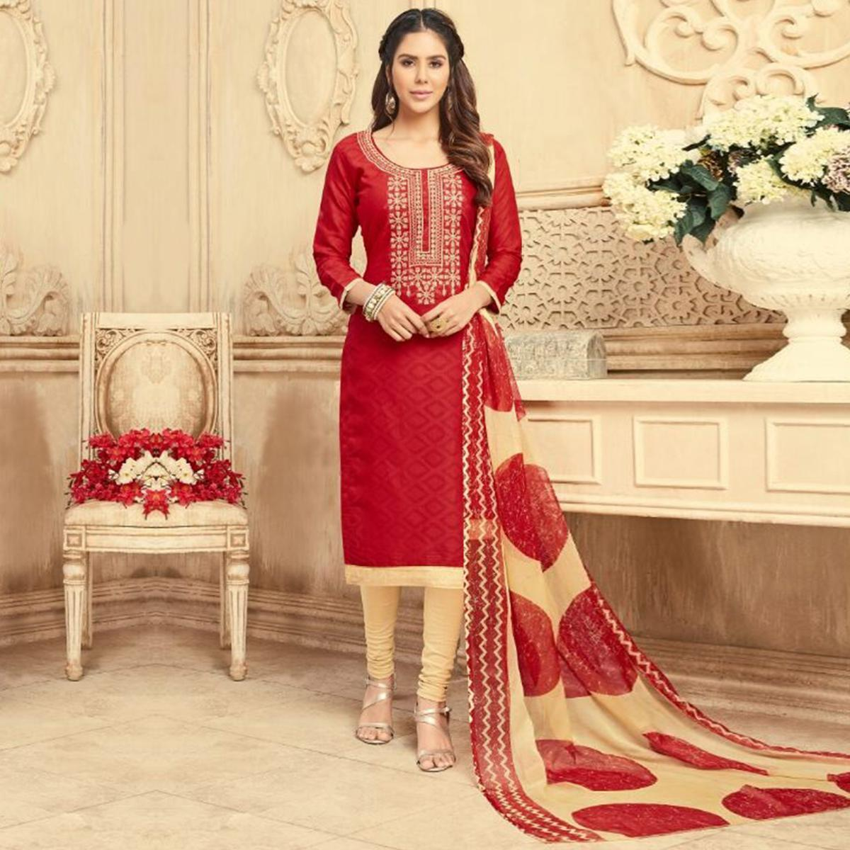 Dazzling Red Embroidered Cotton Jacquard Dress Material