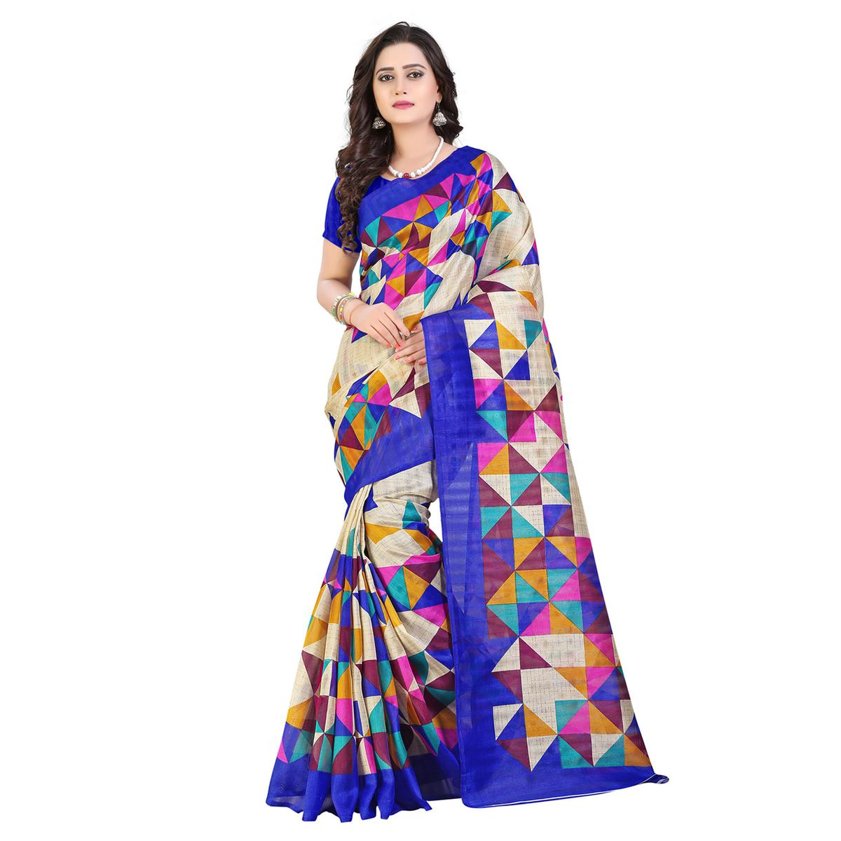 Beige - Blue Printed Bhagalpuri Silk Saree