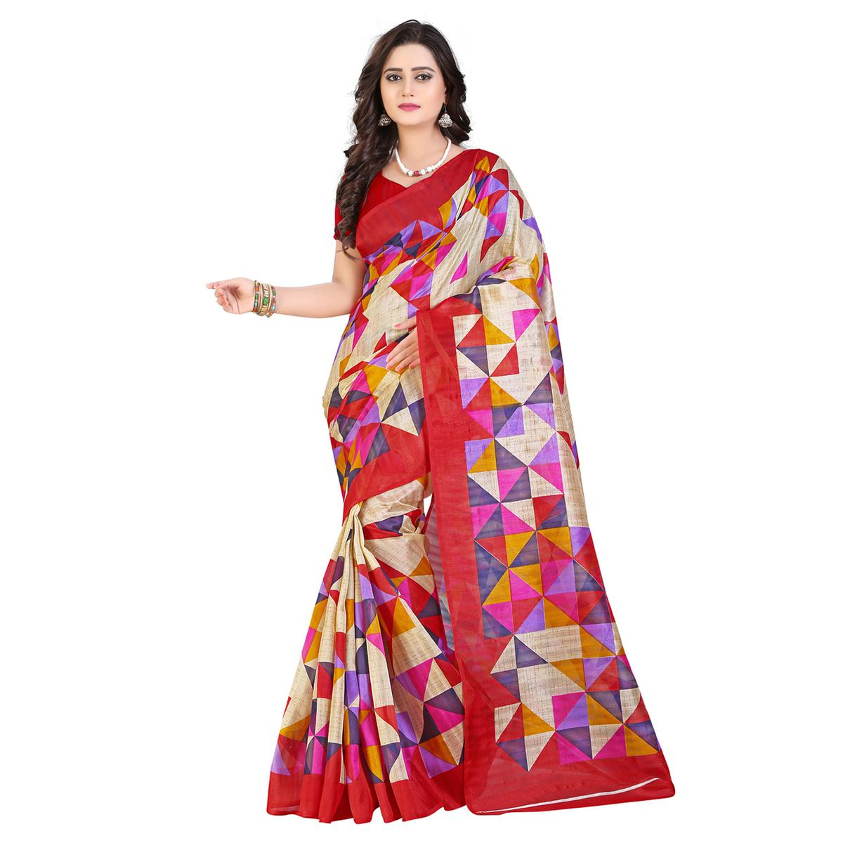 Beige - Red Printed Bhagalpuri Silk Saree