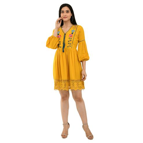 KartX - Embroidered Mustard Rayon Short Dress Ideal For Womens And Girls