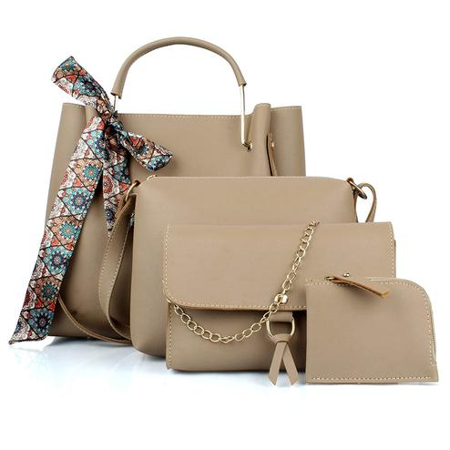 Tmn - Combo Of Cream Ribbon Handbag With Sling Bag And Golden Chain Bag And Coin Pouch