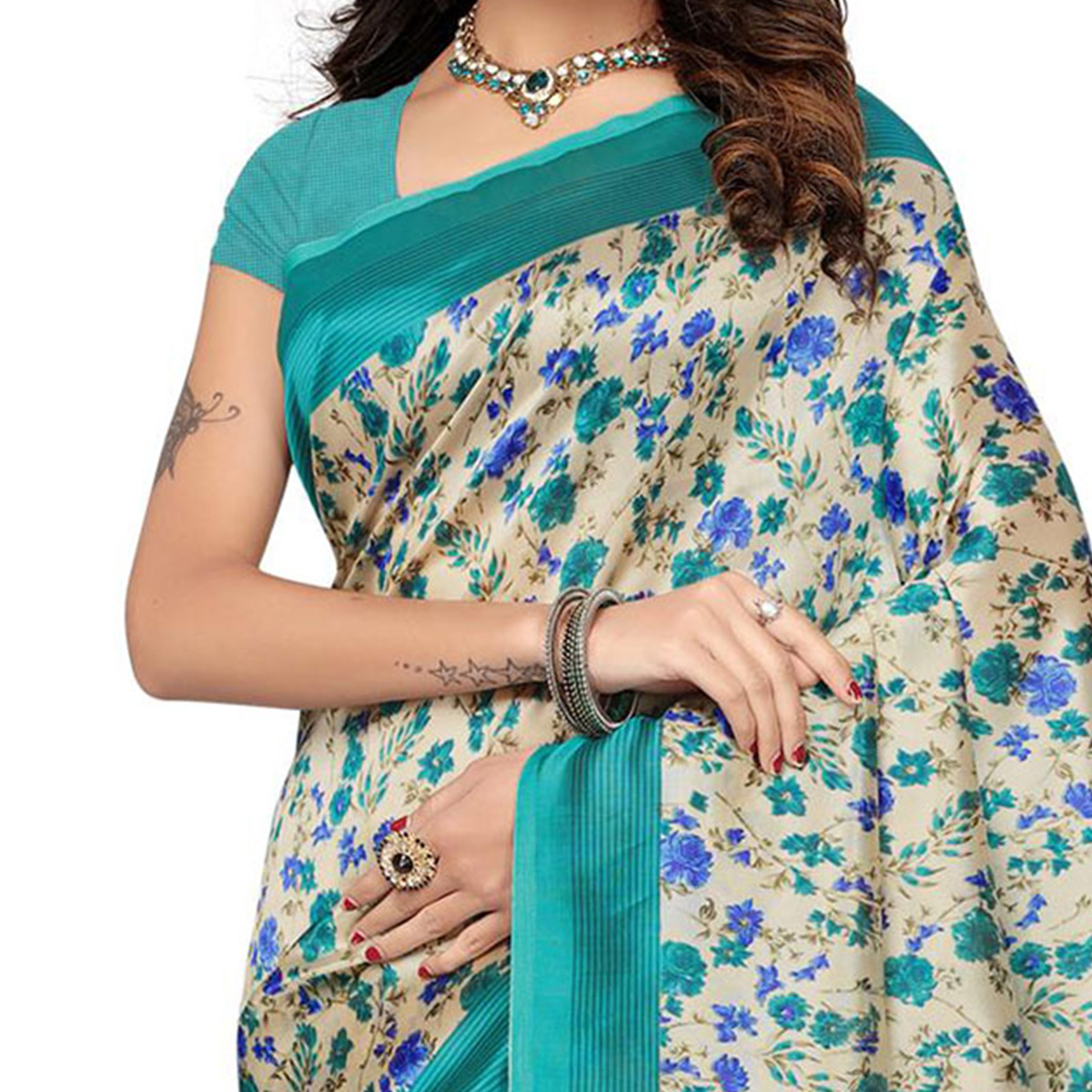 Turquoise Green Colored Kalamkari Printed Bhagalpuri Silk Saree