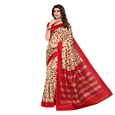 Red Kalamkari Printed Bhagalpuri Silk Saree