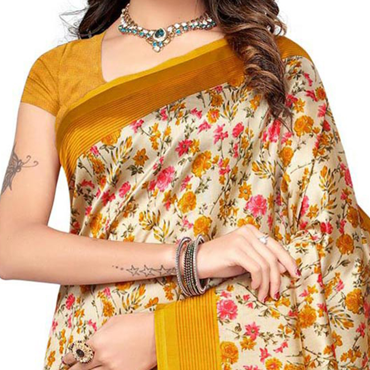 Yellow Kalamkari Printed Bhagalpuri Silk Saree
