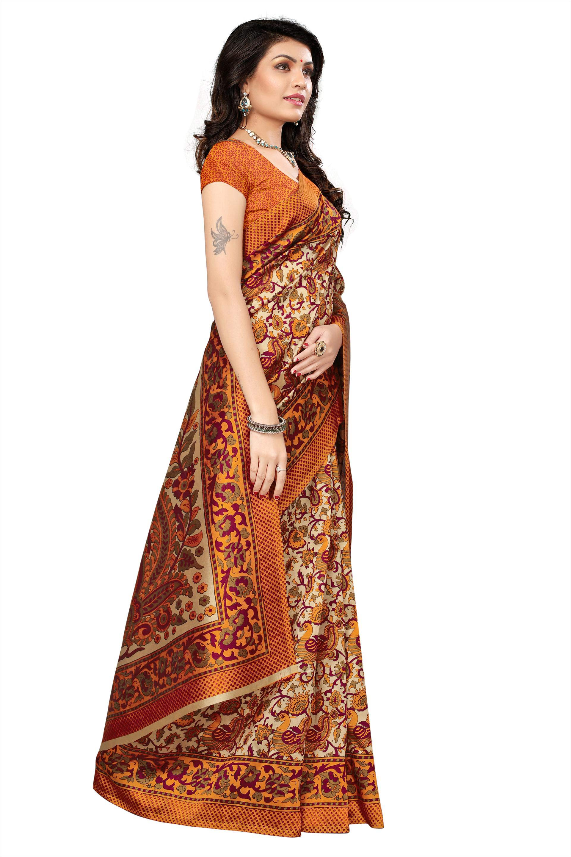 Mustard Yellow Festive Wear Kalamkari Printed Bhagalpuri Silk Saree