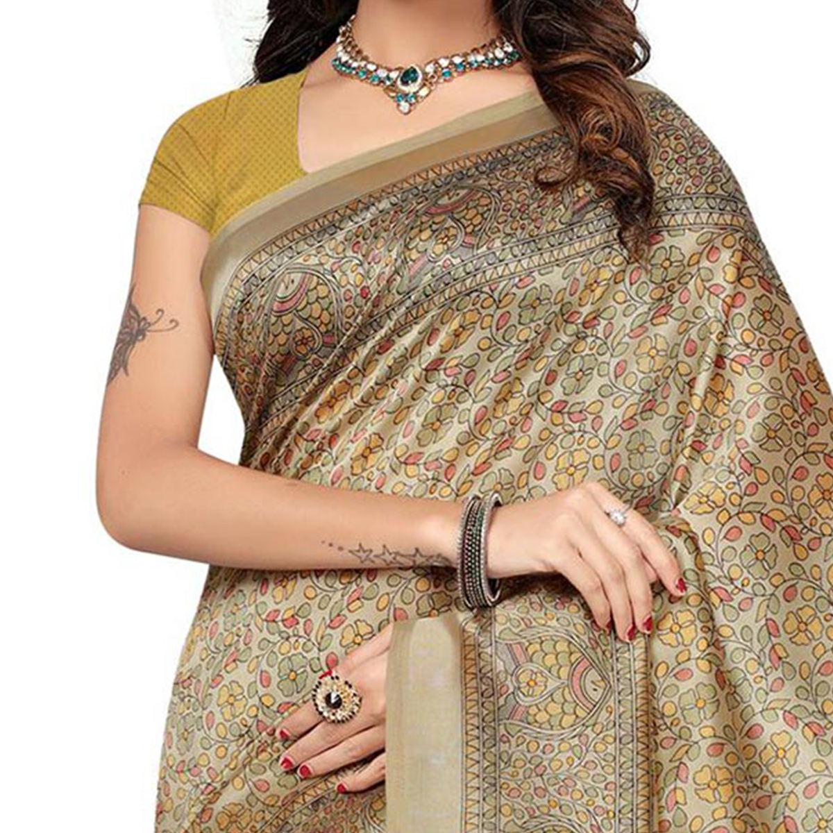 Gray-Yellow Festive Wear Kalamkari Printed Bhagalpuri Silk Saree