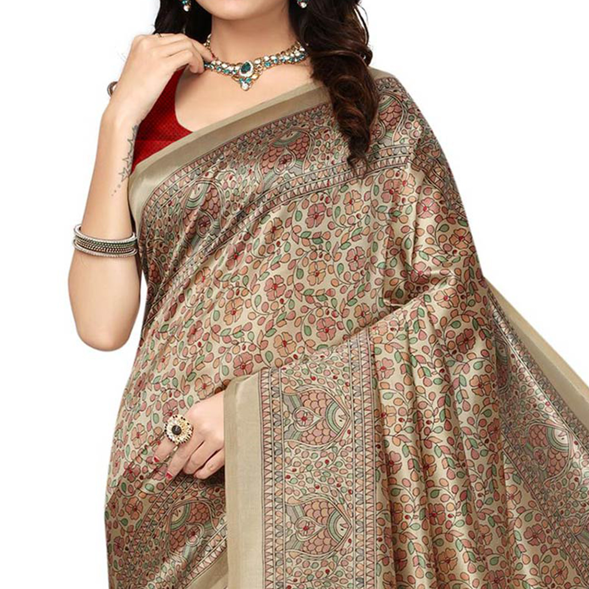 Gray-Red Festive Wear Kalamkari Printed Bhagalpuri Silk Saree