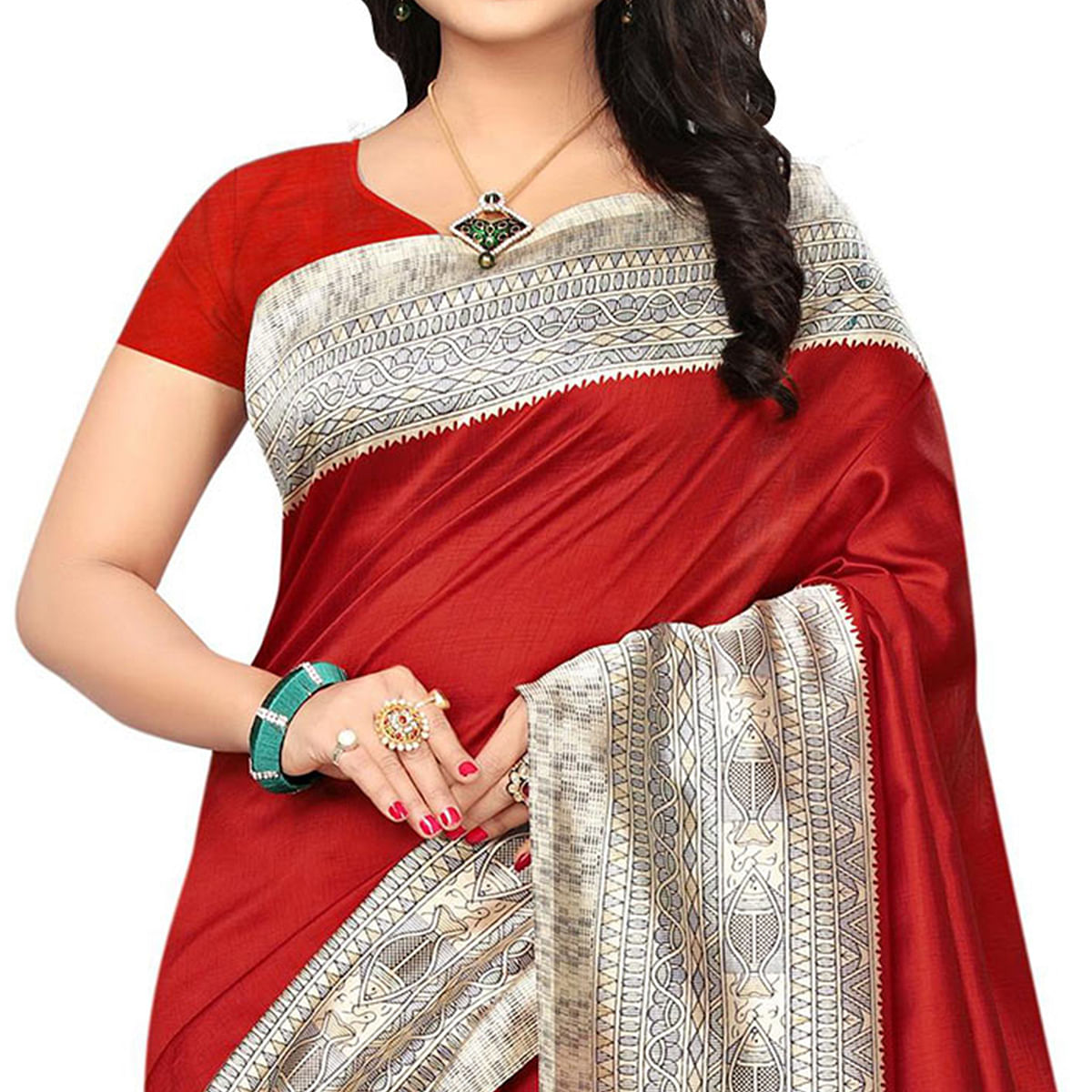 Red Festive Wear Kalamkari Printed Bhagalpuri Silk Saree