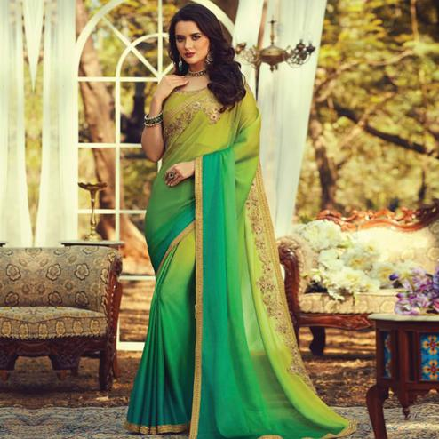 Prominent Green Colored Partywear Embroidered Silk Saree