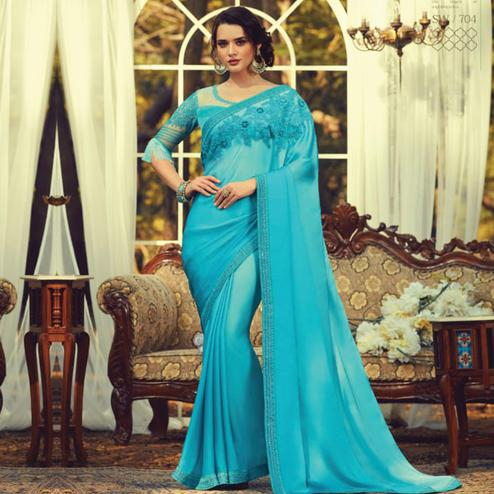 Capricious Sky Blue Colored Partywear Embroidered Silk Saree