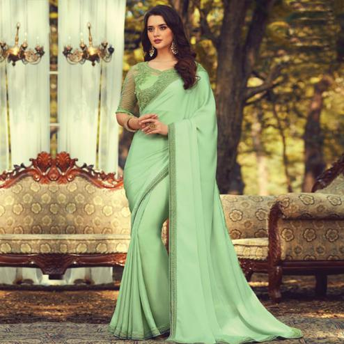 Groovy Pista Green Colored Partywear Embroidered Silk Saree