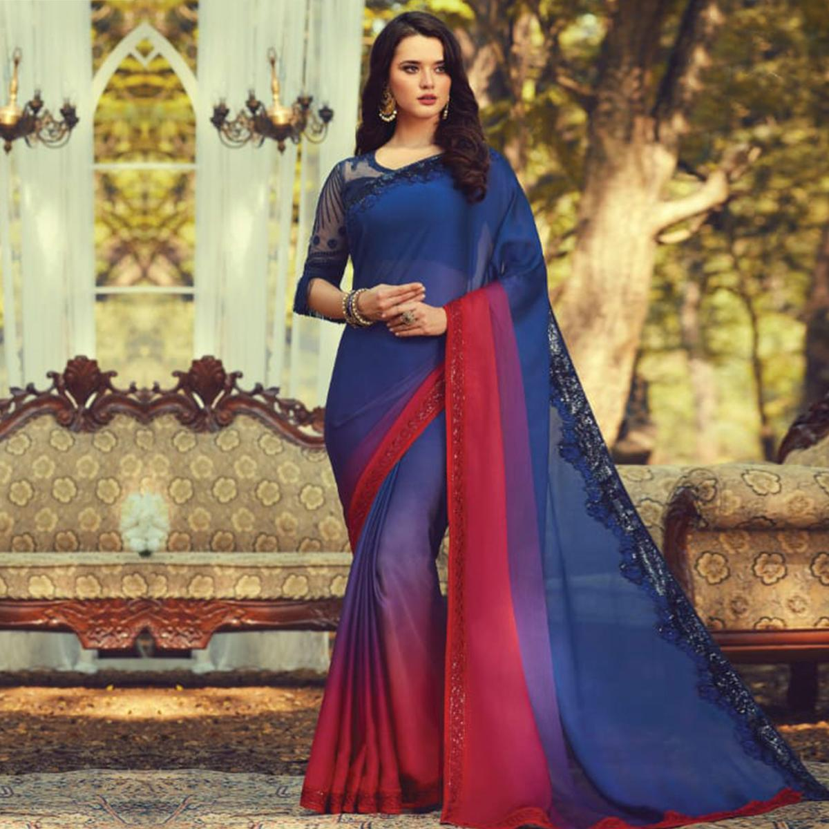 Blooming Blue Colored Partywear Embroidered Silk Saree