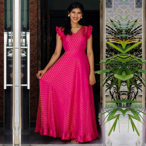 Sophisticated Rani Pink Colored Partywear Woven Jacquard Gown