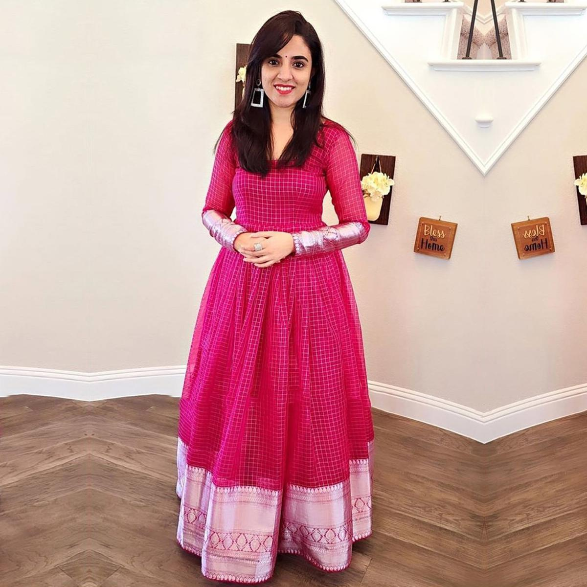 Elegant Rani Colored Partywear Woven Organza Gown