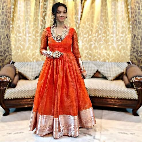 Energetic Orange Colored Partywear Woven Organza Gown