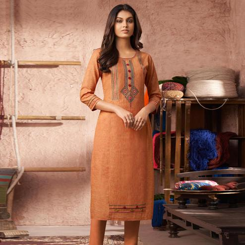Glorious Orange Colored Partywear Embroidered Pure Cotton Kurti