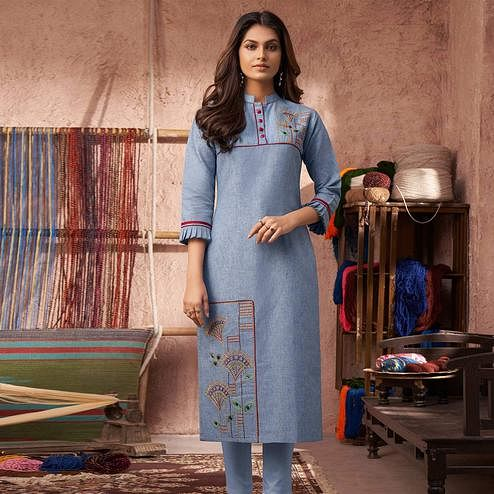 Attractive Light Blue Colored Partywear Embroidered Pure Cotton Kurti