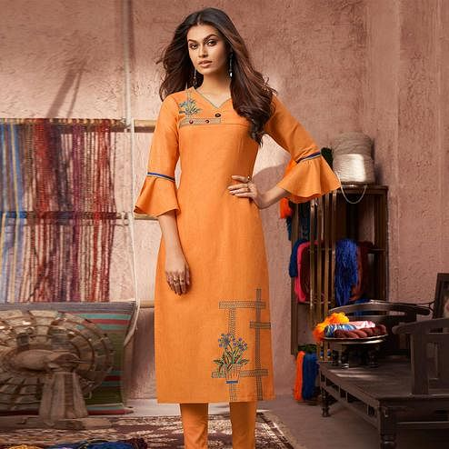 Beautiful Orange Colored Partywear Embroidered Pure Cotton Kurti