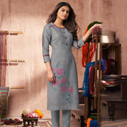 Graceful Grey Colored Partywear Embroidered Pure Cotton Kurti