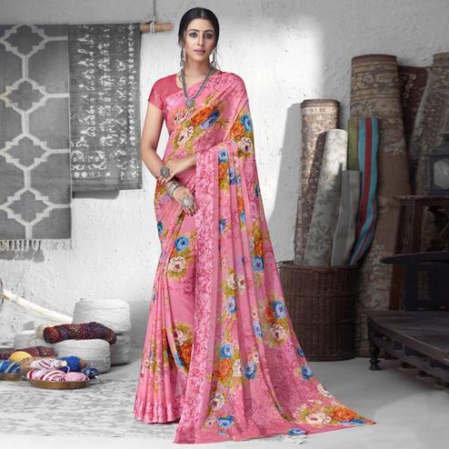 Captivating Pink Colored Partywear Floral Printed Chiffon Saree