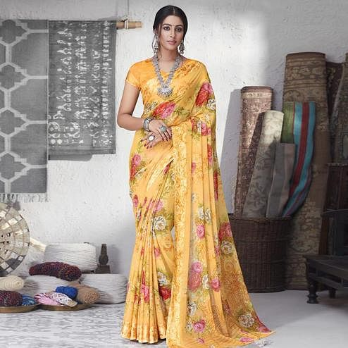 Innovative Mustard Yellow Colored Partywear Floral Printed Chiffon Saree