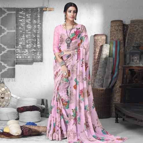 Blissful Light Pink Colored Partywear Floral Printed Chiffon Saree