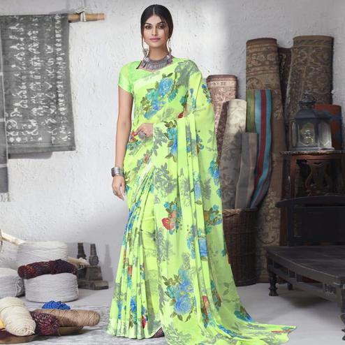 Ideal Green Colored Partywear Floral Printed Chiffon Saree