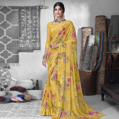 Lovely Yellow Colored Partywear Floral Printed Chiffon Saree