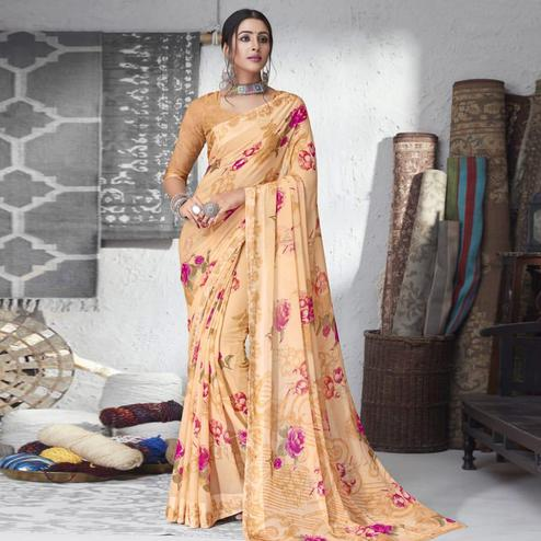 Majesty Light Peach Colored Partywear Floral Printed Chiffon Saree