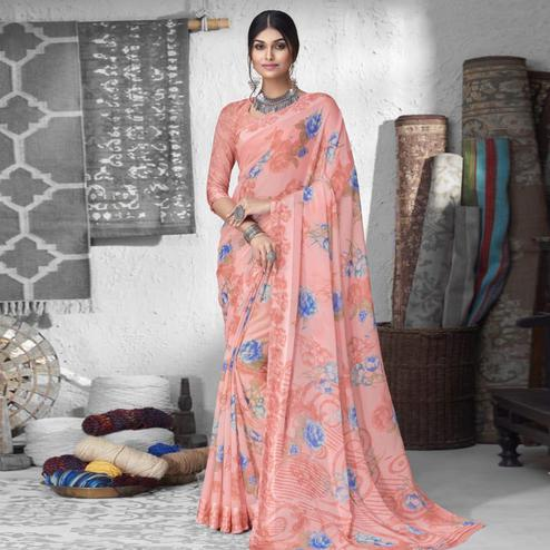 Impressive Pink Colored Partywear Floral Printed Chiffon Saree