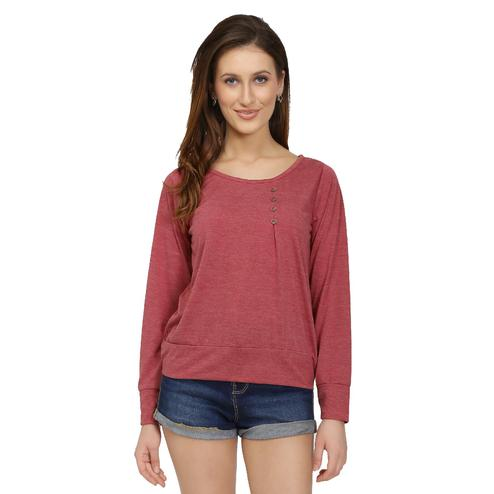 Chimpaaanzee - Maroon Colored Casual Solid Polyester Top