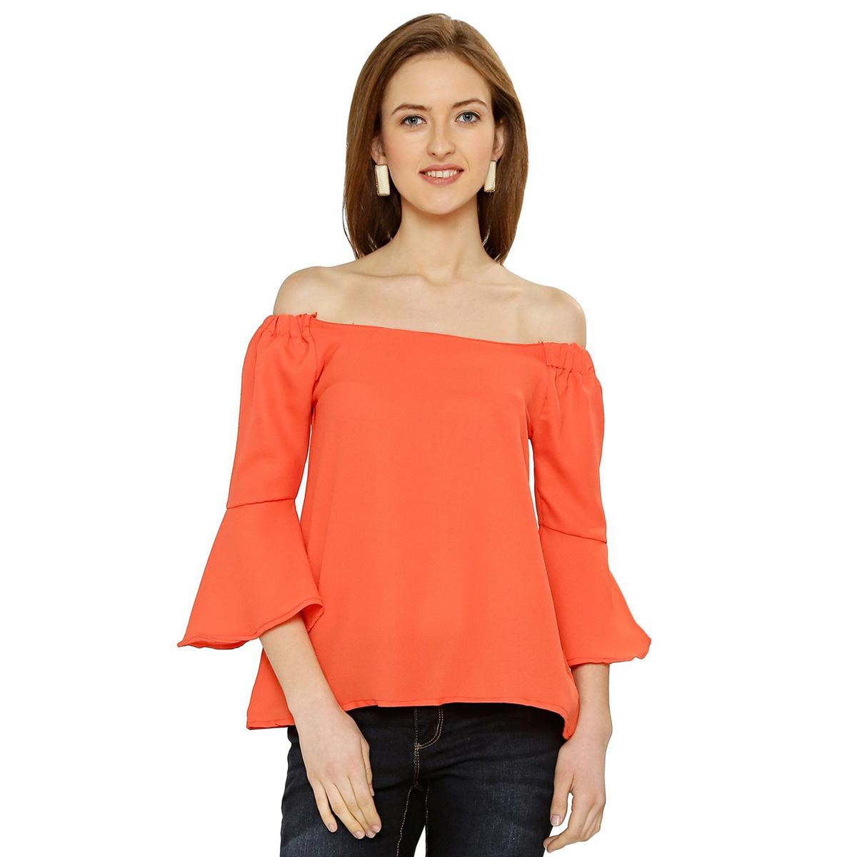 Chimpaaanzee - Orange Colored Casual Solid Polyester Top