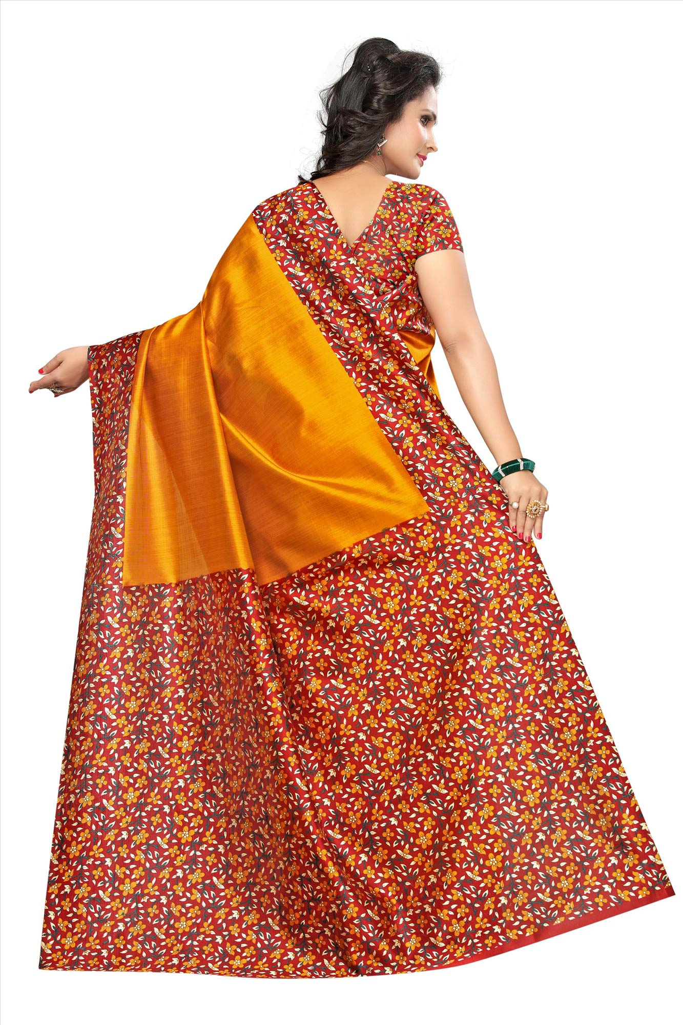 Yellow Festive Wear Kalamkari Printed Bhagalpuri Silk Saree