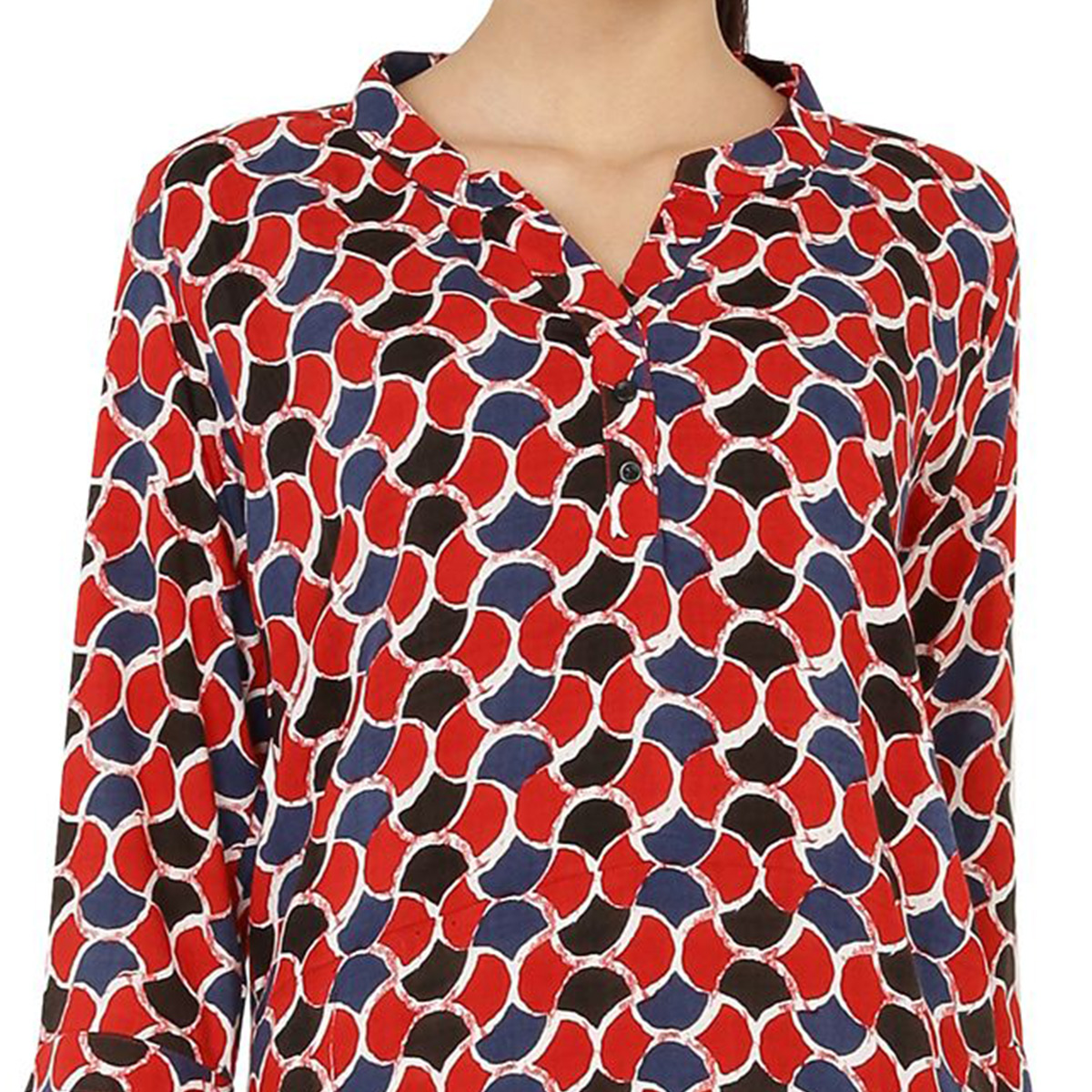 Chimpaaanzee - Red Colored Casual Printed Viscose Top