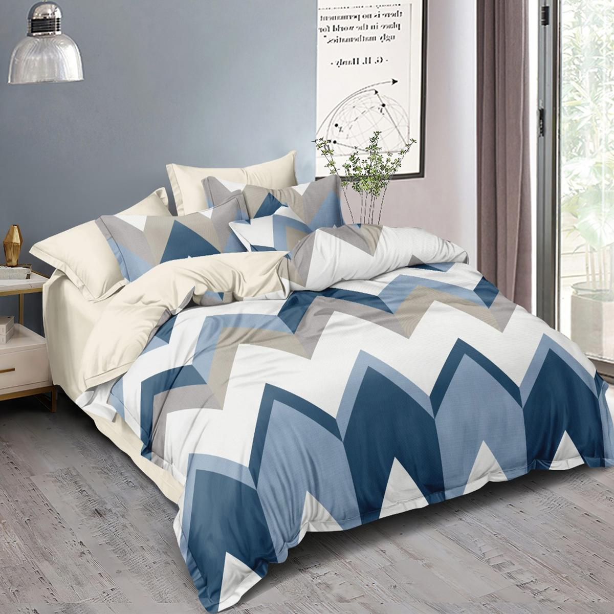 Appealing White - Multi Colored Printed Double Bedsheet With Pillow Cover