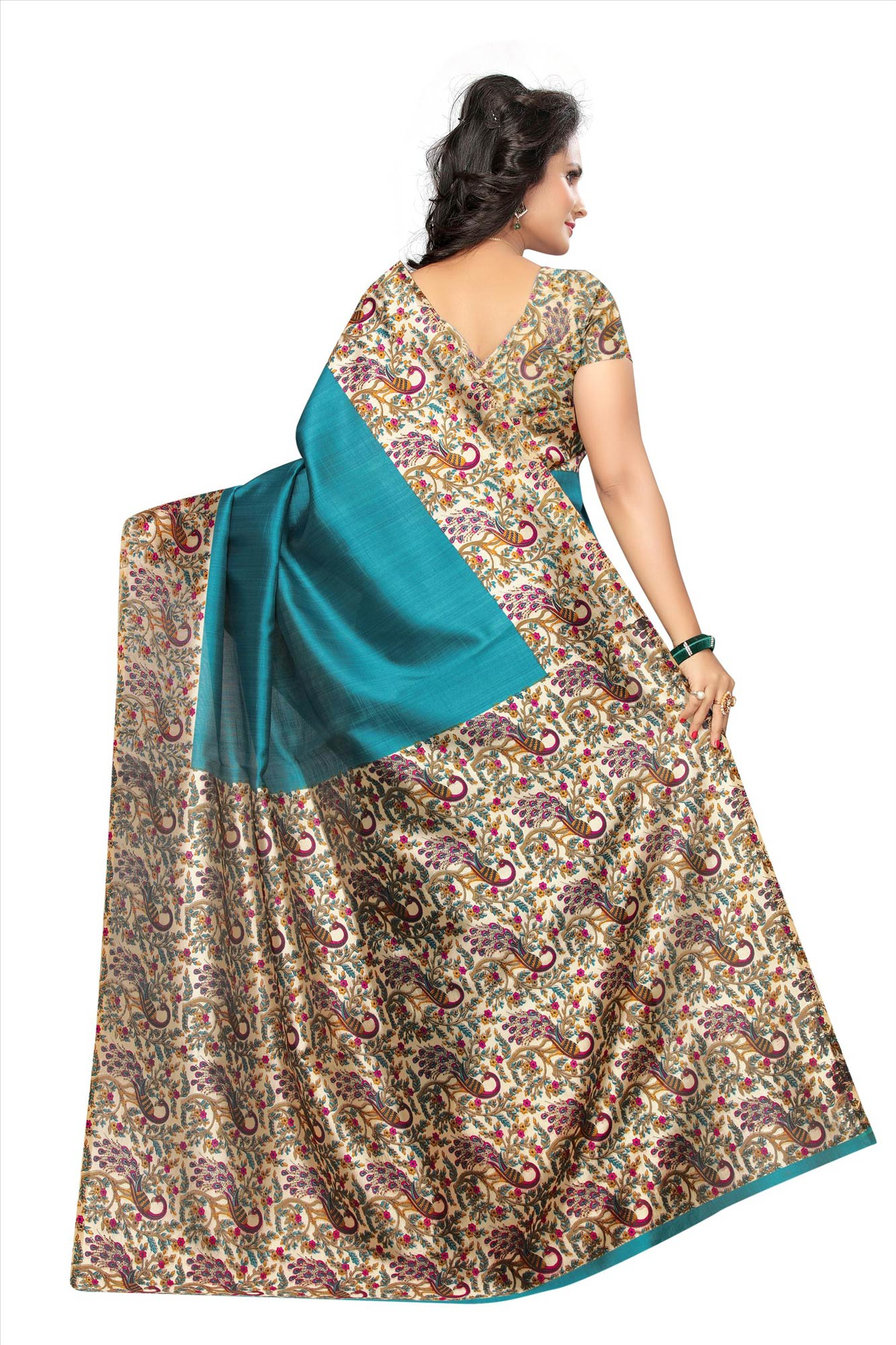 Green Festive Wear Kalamkari Printed Bhagalpuri Silk Saree