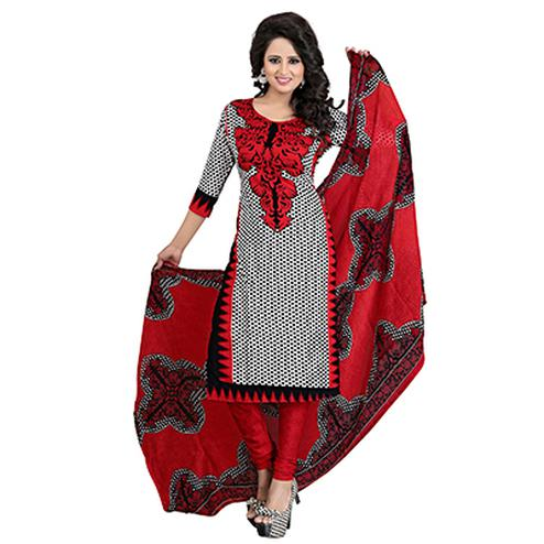 White - Red Digital Printed Casual Suit