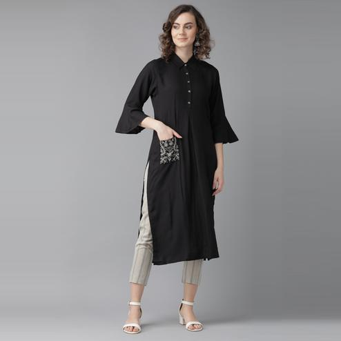 Indo Era - Black Embroidered Straight Kurtas