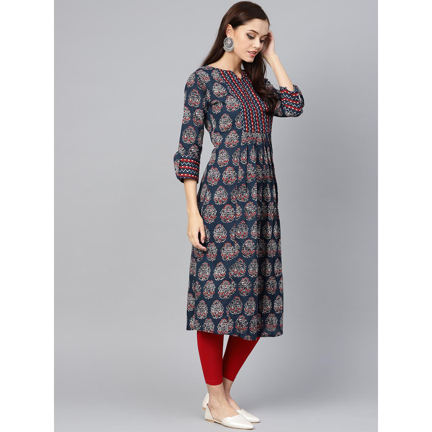 Indo Era - Navy Blue Printed Anarkali Kurtas