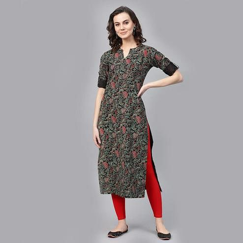 Indo Era - Black Floral Printed Straight Kurtas