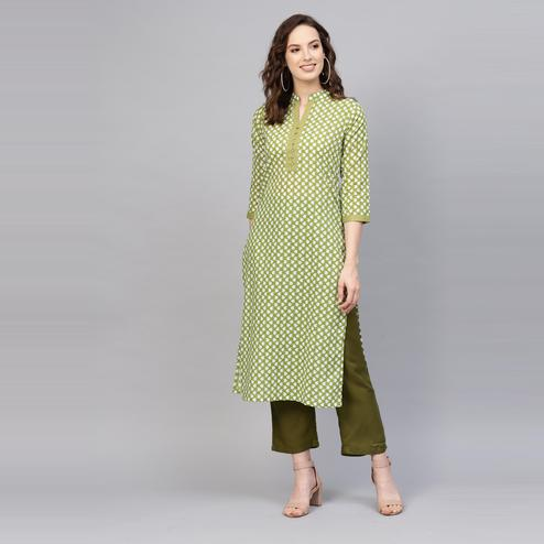 Indo Era - Green Printed Straight Kurtas