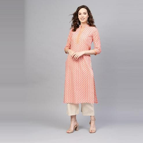 Indo Era - Peach Printed Straight Kurtas