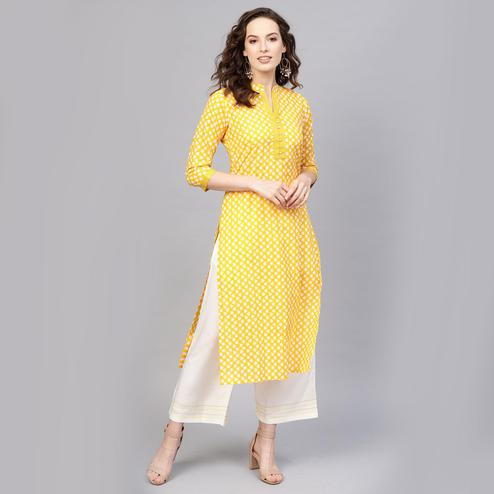 Indo Era - Yellow Printed Straight Kurtas
