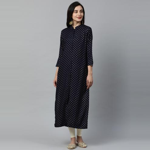 Indo Era - Navy Blue Foil Printed Straight Kurtas