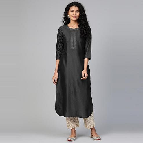 Indo Era - Black Solid Straight Kurtas