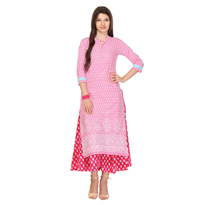 Pink Casual Wear Printed Kurti