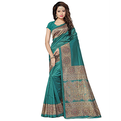 Dark Green Festive Wear Kalamkari Printed Bhagalpuri Silk Saree