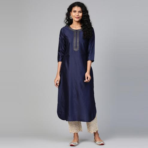 Indo Era - Navy Blue Solid Straight Kurtas