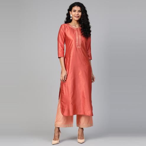 Indo Era - Rust Solid Straight Kurtas